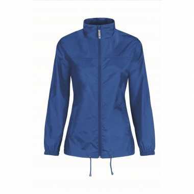 Windjacks voor dames kobaltblauw