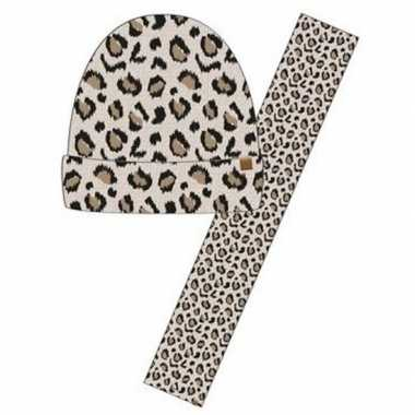 Winter accessoires setje beige panter dieren print voor meisjes