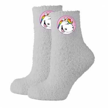 Winter dames sokken mt 39-40 grijs eenhoorn
