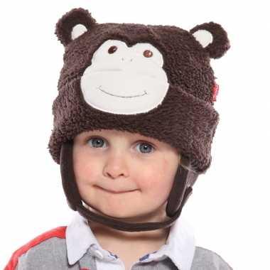Winter muts aap voor kids donkerbruin