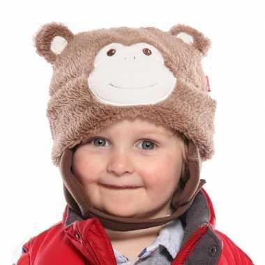 Winter muts aap voor kids lichtbruin