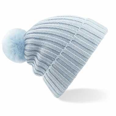 Winter muts met pompon voor volwassenen lichtblauw