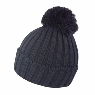 Winter muts met pompon voor volwassenen zwart