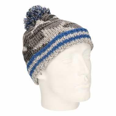 Winter muts met sterren grijs/blauw voor jongens