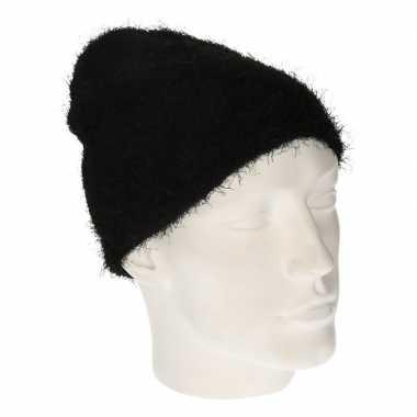 Winter muts van wol zwart voor dames