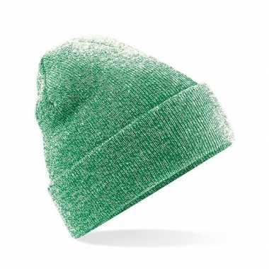 Winter muts voor volwassenen groen gemeleerd