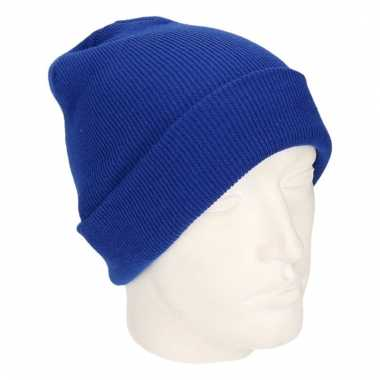 Winter muts voor volwassenen kobalt blauw