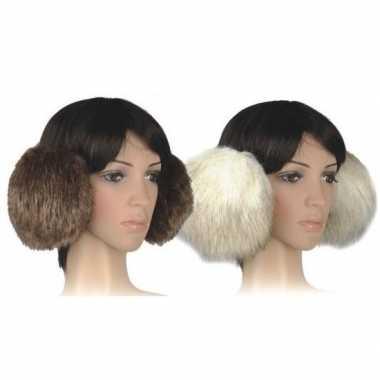 Winter oorwarmers beige pluche extra groot voor dames/volwassenen