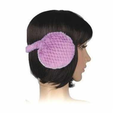 Winter oorwarmers lila pluche voor dames/volwassenen