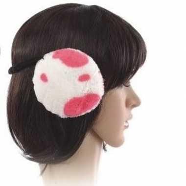 Winter oorwarmers roze koeien print pluche voor dames/volwassenen