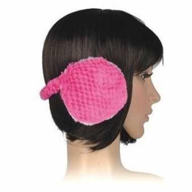 Winter oorwarmers roze pluche voor dames/volwassenen