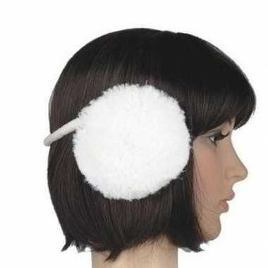 Winter oorwarmers wit pluche voor dames/volwassenen