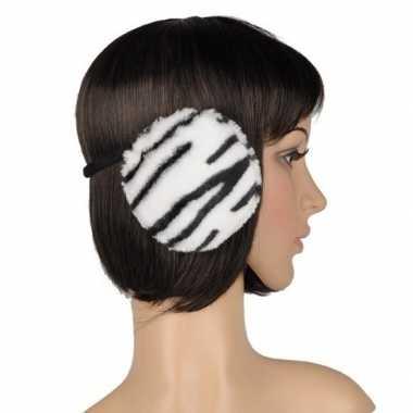 Winter oorwarmers witte tijger print pluche voor dames/volwassenen