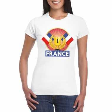 Wit frankrijk supporter kampioen shirt dames