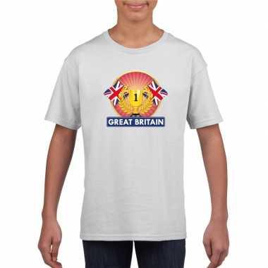 Wit groot brittannie/ engeland supporter kampioen shirt kinderen