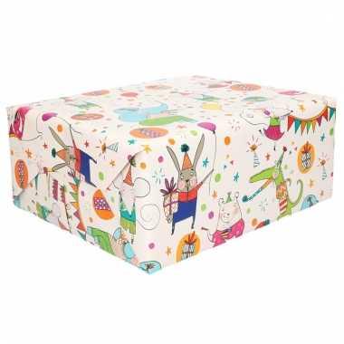 Wit inpakpapier met vrolijke dieren 200 cm