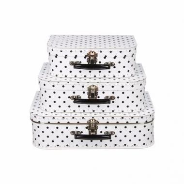 Wit koffertje met zwarte stippen 25 cm