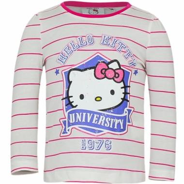 Wit met roze shirt met hello kitty