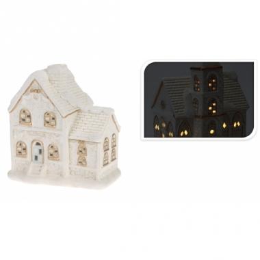 Wit poseleinen kerstdorp huisje met verlichting type 2 ...