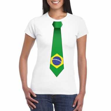 Wit t-shirt met brazilie vlag stropdas dames