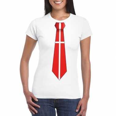 Wit t-shirt met denemarken vlag stropdas dames