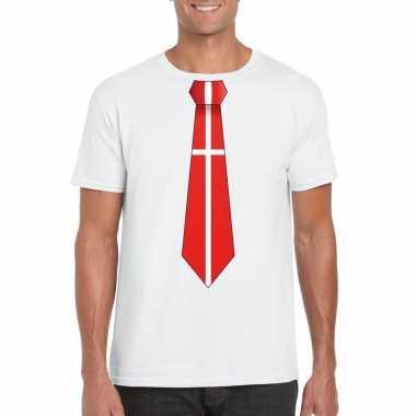 Wit t-shirt met denemarken vlag stropdas heren