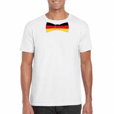 Wit t-shirt met duitsland vlag strikje heren