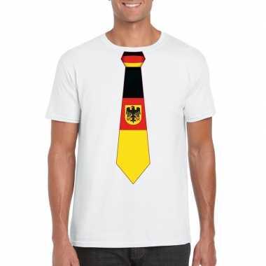 Wit t-shirt met duitsland vlag stropdas heren