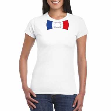 Wit t-shirt met frankrijk vlag strikje dames