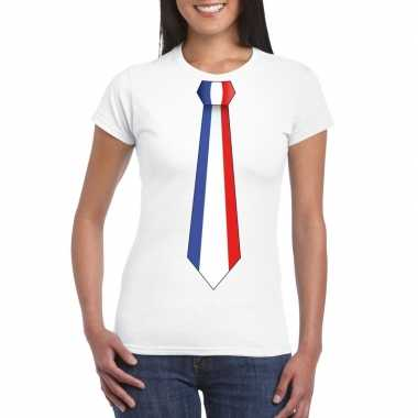 Wit t-shirt met frankrijk vlag stropdas dames