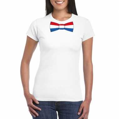 Wit t-shirt met nederland vlag strikje dames