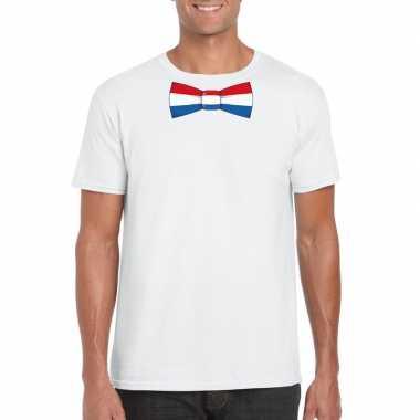 Wit t-shirt met nederland vlag strikje heren