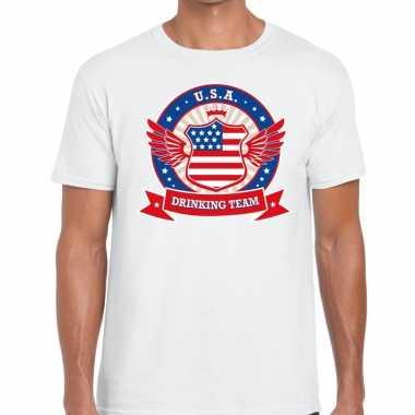 Wit usa drinking team t-shirt heren