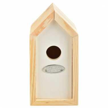 Wit vogel nestkastje voor winterkoninkjes 20 cm
