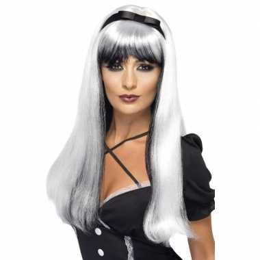 Wit/zwarte heksenpruik met lint voor dames