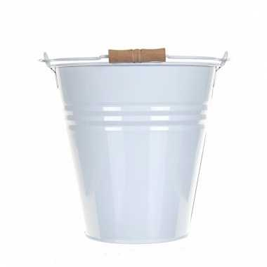 Witte metalen emmer 13 liter