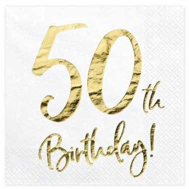 Witte servetjes 50e verjaardag 20x