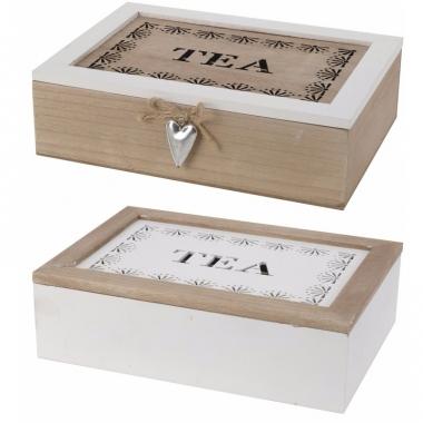 Witte thee bewaardoos 6 vakken 24 cm