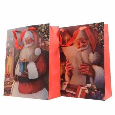 Xxl cadeautjes kerst tas met kerstman opdruk 72 cm type 1