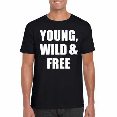 Young, wild and free tekst t-shirt zwart heren
