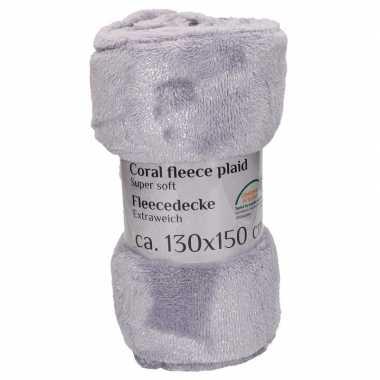 Zacht fleecedekentje grijs 130 x 150 cm