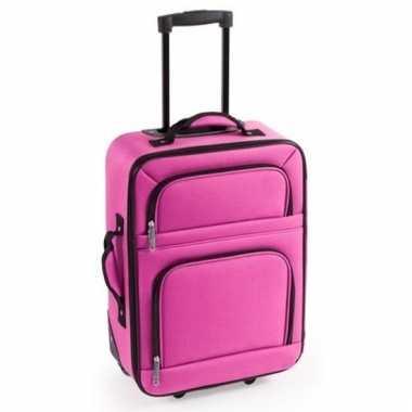Zacht reis koffertje roze 50 cm