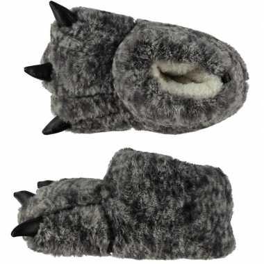 Zachte dieren pantoffels monsterpoot grijs voor kids
