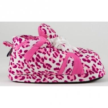 Zachte sloffen voor dames luipaard roze