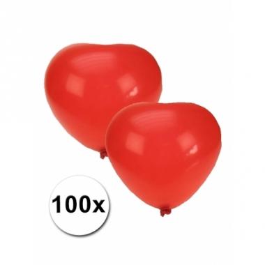 Zak met 100 rode hartjes ballonnen