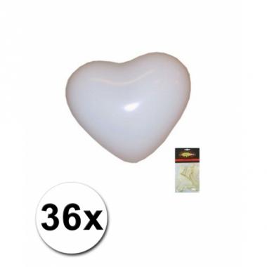 Zak witte hartjesballonnen 36 stuks