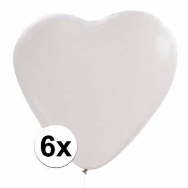 Zak witte hartjesballonnen 6 stuks