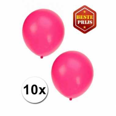 Zakje 10 fluor roze party ballonnen
