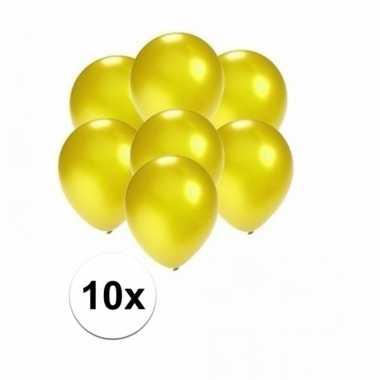 Zakje 10 metallic gele party ballonnen klein