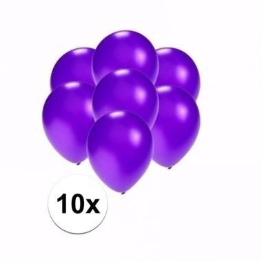 Zakje 10 metallic paarse party ballonnen klein